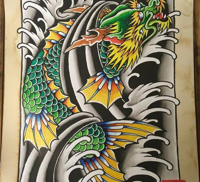 dragon water tattoo