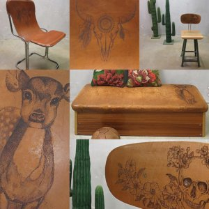 pyrographic artwork on furnishings