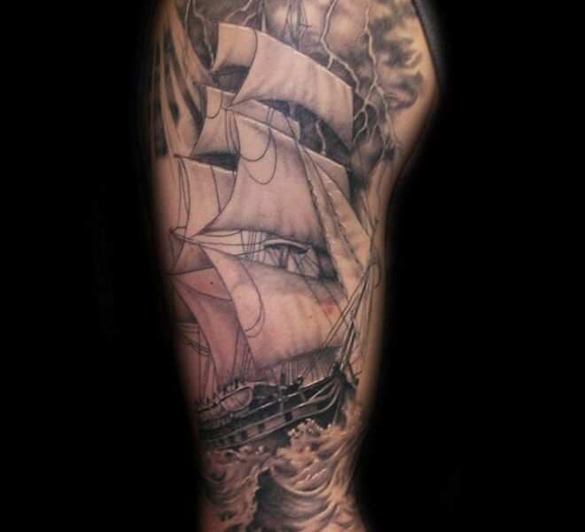 realistic sailing ship tattoo black grey